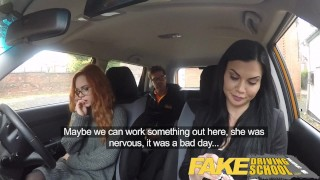 Fake Driving School readhead teen lets busty examiner have her way  ripped leggings spanking british choking big-tits creampie redhead fake-tits cum-inside busty milf lesbian car reality 3some threesome fakedrivingschool
