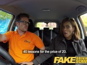 Fake Driving School young ebony learner enjoys creampie for free lessons