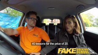 Fake Driving School young ebony learner enjoys creampie for free lessons ebony cum inside british student black big tits shaved pussy ebony teen creampie young black teen fakedrivingschool orgasm english reality big black booty butt black girl funny petite