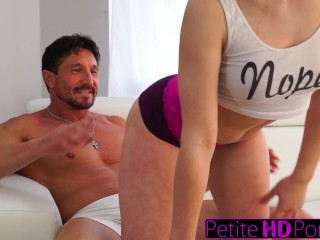 Petitehdporn stepdaughter teases dad with big ass 2