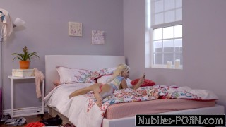 Naughty Blonde Elizabeth Jolie Seduces Roommate  natural riding big-cock cock-sucking blonde cumshot skinny hardcore smalltits cowgirl petite shaved facialize doggystyle facial nubiles porn