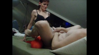 Hot Slut Fucked by Feisty Domme  strap on ass fuck pegging his ass dominant wife femdom strapon pegging strapon femdom kink petite anal femdom pegging amateur wife submissive husband adult toys