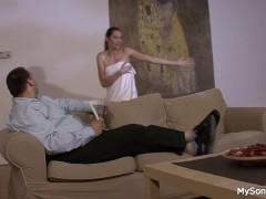 Granpa tricks her into cock sucking and riding