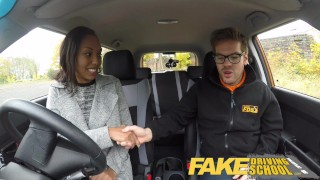 Fake Driving School nervous black teen filled up by her teacher in the car  driving instructor black amateur pov cum-inside young car school fakedrivingschool reality petite small-tits teenager ebony teen