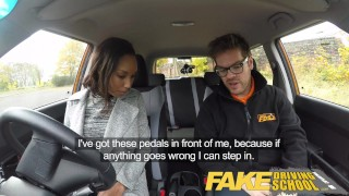Fake Driving School nervous black teen filled up by her teacher in the car  ebony teen driving instructor black amateur pov cum-inside young car school fakedrivingschool reality petite small-tits teenager