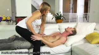 FantasyMassage He Makes Cheating Wife Watch face-sitting 3some cum-in-pussy deep-throat blowjob cheating caught-cheating ffm cream-pie threesome fantasymassage big-tits fake-tits cowgirl cuckold reality massage cheater