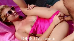 BAEB Blonde babe Arya Fae fucked outdoors by the pool