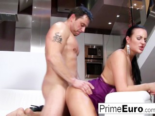Cute brunette with great boobs takes a big cock