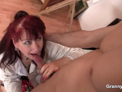 Old mature in sexy lingerie rides his cock