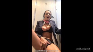 Flight attendant uses in-flight wifi to cam on camsoda!  flight attendant big tits babe outside plane masturbate bathroom hardcore strip brunette hottie orgasm bald pussy camsoda shaved pussy