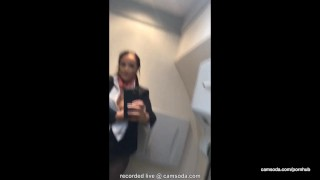 Flight attendant uses in-flight wifi to cam on camsoda! plane flight attendant hardcore big tits hottie masturbate shaved pussy camsoda babe strip outside brunette orgasm bathroom bald pussy