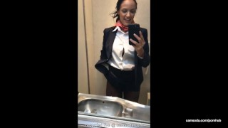 latina stewardess joins the masturbation mile high club in the lavatory  flight attendant big tits babe outside plane masturbate camsoda bathroom hardcore strip brunette hottie orgasm bald pussy shaved pussy