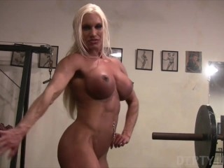 Gym Muscular Naked video: Muscular Pornstar Ashlee Chambers Naked in the Gym