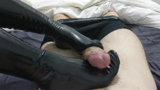 Footjob and Handjob with Latex by Mistress Zaz  footjob stockings latex gloves footjob latex point of view handjob latex gloves femdom fetish cum handjob kink gloves footjob latex latex stockings handjob latex