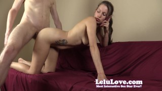 She sucks and fucks while on the phone with her cuckold husband  homemade spanking cuckolding hd humiliation femdom deepthroating amateur sph blowjob cumshot fetish hardcore brunette doggystyle natural tits lelu love