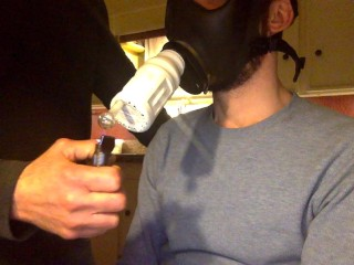Gas Mask Pipe Smoking and Clouds
