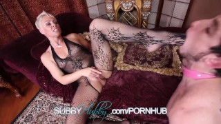 Hot MILF Fucking Shoots Cum In Cuckolds Face  subbyhubby cuckold chastity femdom mom blonde blowjob cumshot hardcore bisexual kink pussy mother threesome domina helena
