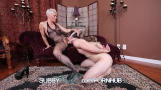 Hot MILF Fucking Shoots Cum In Cuckolds Face  cuckold chastity femdom mom blonde blowjob cumshot hardcore bisexual kink pussy mother threesome domina helena subbyhubby
