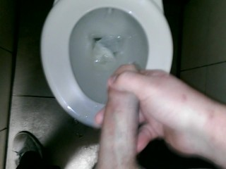 Wanking and ejaculating in a public toilet