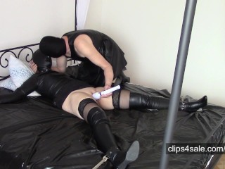 Wife in leather hood, leather bondage, shaving and missionary