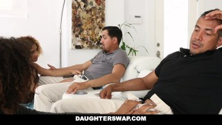 DaughterSwap - Ebony Daughters Punished & Fucked For Sneaking Out  big cock girl small dad black foursome big dick interracial daughter petite daughterswap latino latin group facial group sex riley king kendall woods father