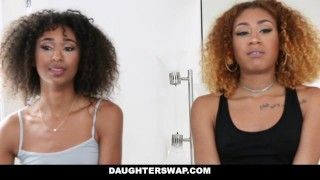 DaughterSwap - Ebony Daughters Punished & Fucked For Sneaking Out  big cock small dad black big dick interracial daughter petite latino latin group facial foursome group sex riley king kendall woods daughterswap father girl