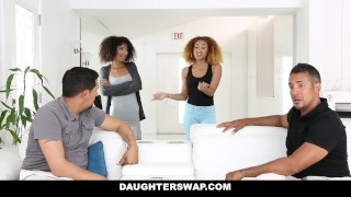 DaughterSwap - Ebony Daughters Punished & Fucked For Sneaking Out small big cock dad group sex father riley king black girl kendall woods daughterswap latino foursome interracial latin big dick daughter group facial petite