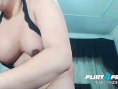 BBW TGirl Jerks Hard and Plays With Cum