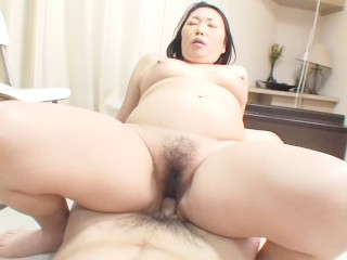 Chubby Japanese cougar gets vibrators and cock in her hairy pussy
