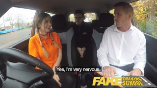 Fake Driving School Pigtailed cutie gets a face full of cum  car sex sex in car red underwear british babe pigtails uk funny young fakedrivingschool reality thong teenager car porn instructor fds