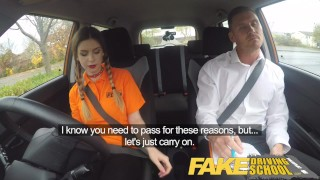 Fake Driving School Pigtailed cutie get