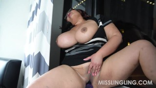 Asian Busty BBW Plays With Pussy Looking Out Window  vibrator orgasm big boobs solo masturbation sex toys natural tits bbwland solo female glasses dildo misslingling chubby