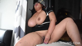 Asian Busty BBW Plays With Pussy Looking Out Window big-boobs solo-female glasses dildo vibrator misslingling sex-toys chubby orgasm natural-tits solo-masturbation bbwland