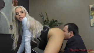 Boss Nina Elle Makes Her Employee Kiss Her Ass & Feet - Femdom Worship  big tits asslicking slave blonde mom meanbitches boss kink foot fetish mother foot worship pussy licking fake tits office domination nina elle public humiliation femdom ass worship lick her asshole