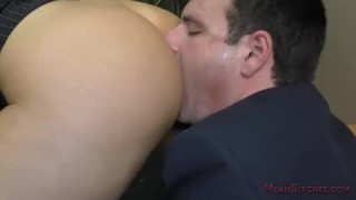 Boss Nina Elle Makes Her Employee Kiss Her Ass & Feet - Femdom Worship  public humiliation nina elle big tits asslicking slave blonde mom meanbitches boss kink foot fetish mother foot worship pussy licking fake tits office domination femdom ass worship lick her asshole