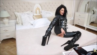 Anisyia Livejasmin Full latex bodysuit extreme high heels  bodysuit penetration kink romania big round tits latex big boobs fitness model camgirl big roud ass brunette curly hair extreme high heels huge petite