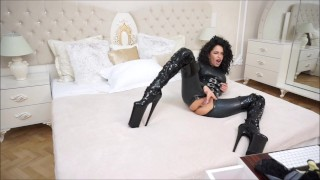 Anisyia Livejasmin Full latex bodysuit extreme high heels  camgirl huge curly hair kink romania brunette petite bodysuit penetration latex big boobs fitness model big round tits big roud ass extreme high heels