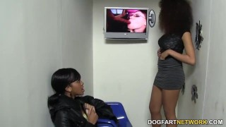 Serena Ali And Amber Steel Visit Gloryhole  big tits ebony black blowjob gloryhole pornstar fetish hardcore kink interracial dogfartnetwork 3some threesome glory hole