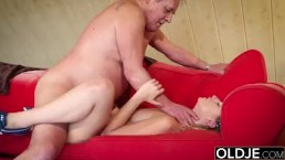 Fat old man fucked by beautifu