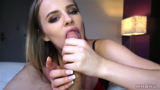 Pretty little cocksucker (Jillian Janson)  swallow mhbhj huge cock slow teasing blowjob mark rockwell the pose blowjob swallow marks head bobbers point of view Pov Blowjob cum in mouth cim