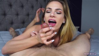 Daddy's little girl pumps her face up and down on my dick close up mhb cim point of view blonde blowjob mark rockwell sydney cole marks head bobbers cum in mouth pov barefoot mhbhj