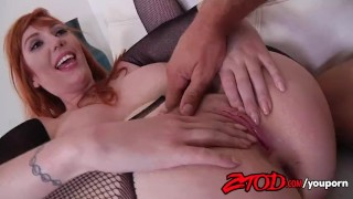 ztod redhead big boobs fishnet big cock cock sucking big ass doggy style hardcore body stocking babe riding reverse cowgirl hairy cum on tits