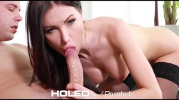 HOLED Petite Sasha Rose toys her tight ass before anal fuck