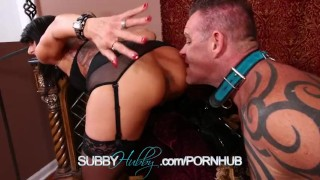 Cuckold Training Her Husband rough femdom hardcore milf masturbation kink training fucking shaved subbyhubby sex toys pussy tattoos cuckold fetish rough sex