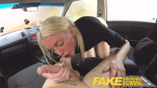 Fake Driving School lesson ends in suprise squirting orgasm and creampie  natural british choking funny blowjob small tits pov english squirting car fakedrivingschool reality shaved orgasm tall girl cum inside car sex