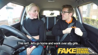 Fake Driving School lesson ends in suprise squirting orgasm and creampie  natural british funny blowjob small tits pov english squirting car reality shaved orgasm tall girl fakedrivingschool cum inside choking car sex