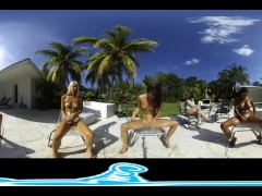 Lesbian virtual reality show, squirting outdoors by the pool