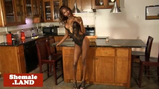 Ebony trans beauty wanks chocolate cock solo
