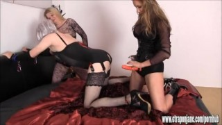 Lucky sissy slut is fucked and sucked by two horny femdoms with big strapon big-cock 3some domination femdom hardcore masturbation big-tits blowjob amateur strapon cumshot mistress threesome anal brunette ass-fuck adult-toys straponjane