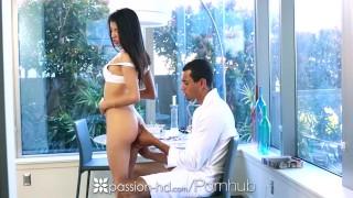 PASSION-HD Latin Veronica Rodriguez fucks big donkey dick with facial
